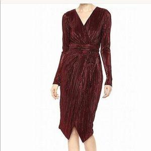 Rachel Roy Metallic Pleated Faux Wrap Dress